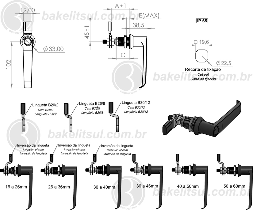 LOCKING CAM LATCH WITH HANDLE L,